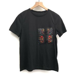 Zara Black Tee Shirt with Embroidery - Size Small
